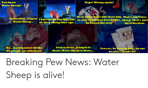 Alive, News, and Hearts: You knew  Nope! Wrong again!  Water Sheep?  He is alive! And I will show him That's not water  to you! You follow PewDiePie, sheep. That's just  Correction...I know I hate to tell you this, but  Water Sheep...  he died a ong time ago.  he knows the way!  my reflection.  Sven is there, Joergen is  there, Water Sheep is there...  No...Look harder! All the  You see, he lives in you...in our  (OG people are still there!  hearts.inside us! Breaking Pew News: Water Sheep is alive!
