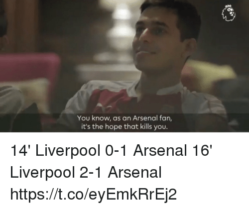 Arsenal, Memes, and Liverpool F.C.: You know, as an Arsenal fan,  it's the hope that kills you. 14' Liverpool 0-1 Arsenal 16' Liverpool 2-1 Arsenal https://t.co/eyEmkRrEj2