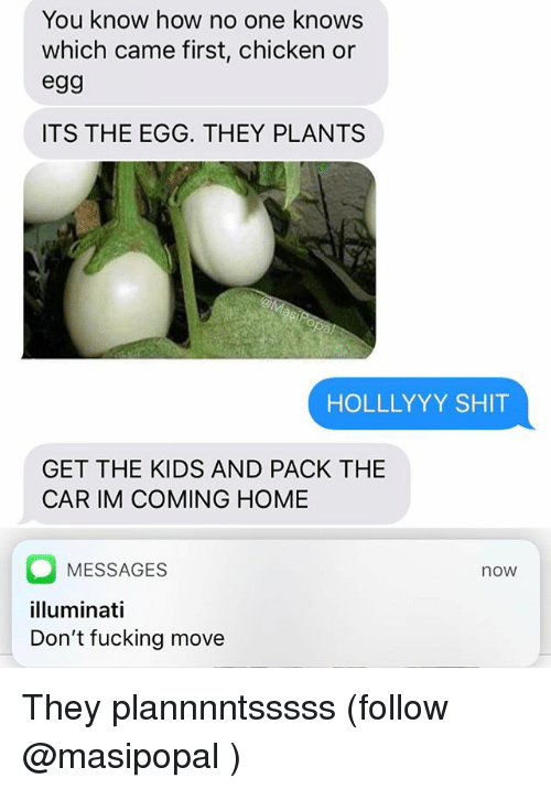 Im Coming Home: You know how no one knows  which came first, chicken or  egg  ITS THE EGG. THEY PLANTS  HOLLLYYY SHIT  GET THE KIDS AND PACK THE  CAR IM COMING HOME  MESSAGES  lluminati  Don't fucking move  now They plannnntsssss (follow @masipopal )