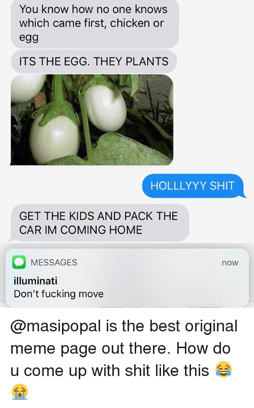 Im Coming Home: You know how no one knows  which came first, chicken or  egg  ITS THE EGG. THEY PLANTS  HOLLLYYY SHIT  GET THE KIDS AND PACK THE  CAR IM COMING HOME  MESSAGES  illuminati  Don't fucking move  now @masipopal is the best original meme page out there. How do u come up with shit like this 😂😭
