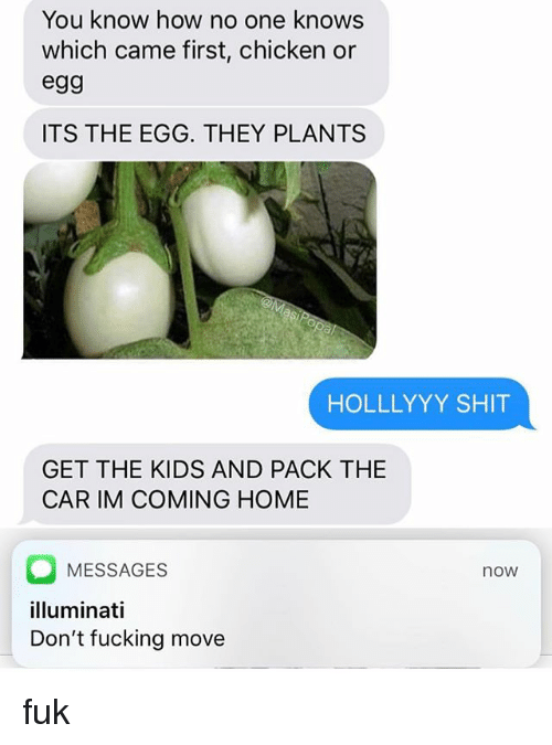 Im Coming Home: You know how no one knows  which came first, chicken or  egg  ITS THE EGG. THEY PLANTS  HOLLLYYY SHIT  GET THE KIDS AND PACK THE  CAR IM COMING HOME  MESSAGES  illuminati  Don't fucking move  now fuk