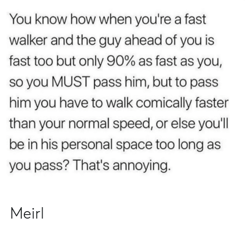 Too Long: You know how when you're a fast  walker and the guy ahead of you is  fast too but only 90% as fast as you,  so you MUST pass him, but to pass  him you have to walk comically faster  than your normal speed, or else you'll  be in his personal space too long as  you pass? That's annoying. Meirl