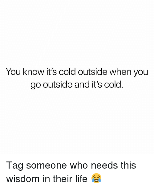 Life, Tag Someone, and Christian Memes: You know it's cold outside when you  go outside and it's cold Tag someone who needs this wisdom in their life 😂