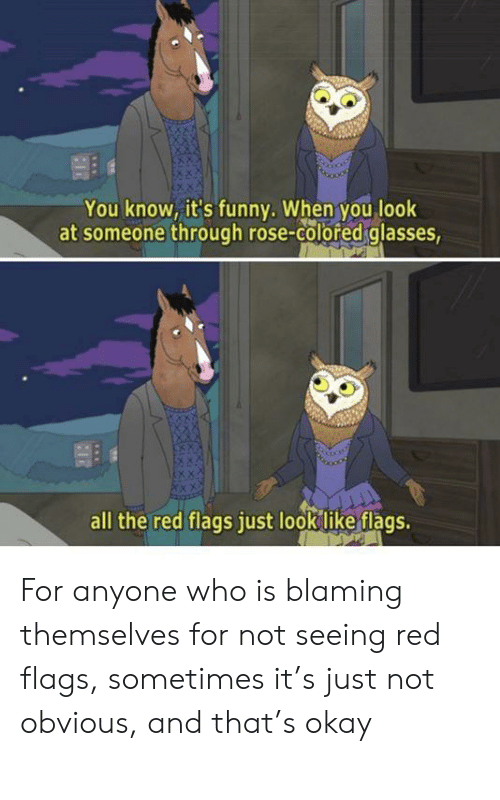 Glasses: You know, it's funny. When you look  at someone through rose-colored glasses,  all the red flags just look like flags. For anyone who is blaming themselves for not seeing red flags, sometimes it's just not obvious, and that's okay