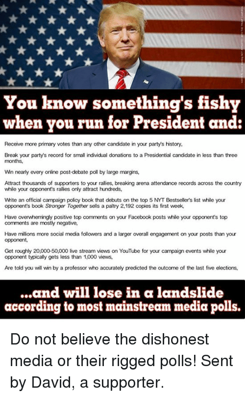 Something Fishy: You know something's fishy  when you run for President and  Receive more primary votes than any other candidate in your party's history,  Break your party's record for small individual donations to a Presidential candidate in less than three  months,  Win nearly every online post-debate poll by large margins,  Attract thousands of supporters to your rallies, breaking arena attendance records across the country  while your opponent's rallies only attract hundreds,  White an official campaign policy book that debuts on the top 5 NYT Bestseller's list while your  opponent's book Stronger Together sells a paltry 2,192 copies its first week,  Have overwhemingly positive top comments on your Facebook posts while your opponent's top  comments are mostly negative,  Have millions more social media followers and a larger overall engagement on your posts than your  opponent,  Get roughly 20,000-50,000 live stream views on YouTube for your campaign events while your  opponent typically gets less than 1,000 views,  Are told you will win by a professor who accurately predicted the outcome of the last five elections,  ...and will lose in a landslide  according to most mainstream media polls. Do not believe the dishonest media or their rigged polls! Sent by David, a supporter.