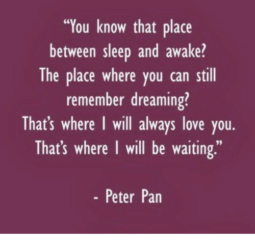 """Peter Pan: """"You know that place  between sleep and awake?  The place where you can still  remember dreaming?  That's where I will always love you.  That's where I will be waiting,""""  - Peter Pan"""