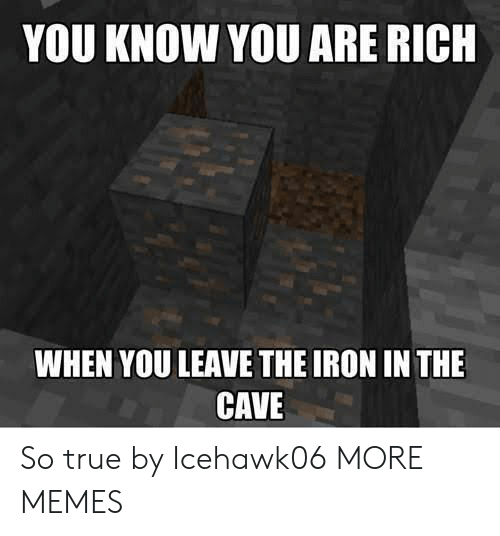 the cave: YOU KNOW YOU ARE RICH  WHEN YOU LEAVE THE IRON IN THE  CAVE So true by Icehawk06 MORE MEMES