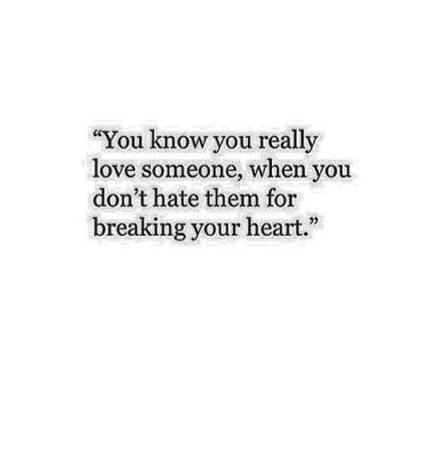 """Love, Heart, and Them: """"You know you really  love someone, when you  don't hate them for  breaking your heart"""""""