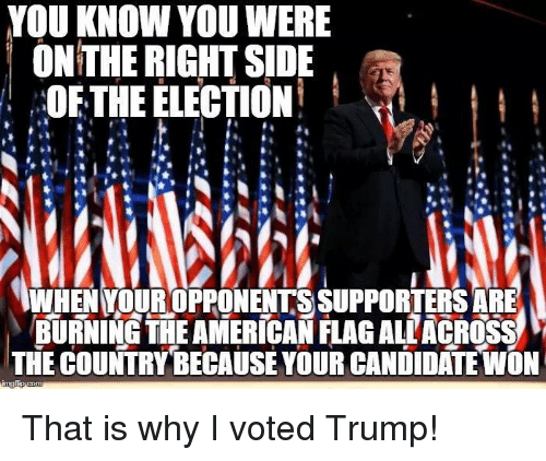 Vote Trump: YOU KNOW YOU WERE  ON THE RIGHT SIDE  OF THE ELECTION  WHEN YOUROPPONENTS SUPPORTERS ARE  BURNING THE AMERICAN FLAGALLACROSS  THE COUNTRY BECAUSE YOUR CANDIDATE WON That is why I voted Trump!