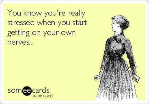 Dank, Someecards, and 🤖: You know you're really  stressed when you start  getting on your own  nerves...  someecards  user card