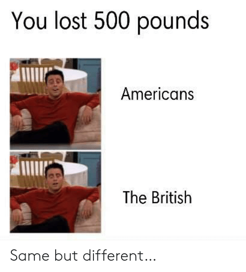You Lost: You lost 500 pounds  Americans  The British Same but different…