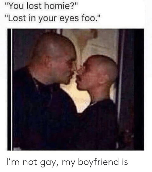 "You Lost: ""You lost homie?""  ""Lost in your eyes foo."" I'm not gay, my boyfriend is"