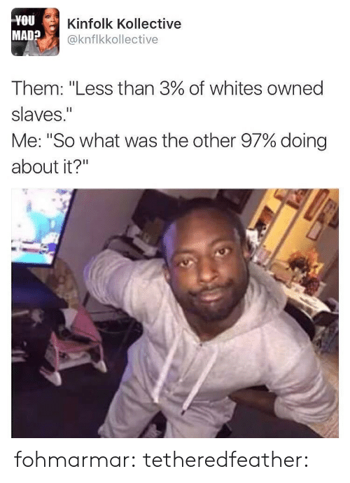 "Gif, Tumblr, and Blog: YOU  MAD?  Kinfolk Kollective  @knflkkollective  Them: ""Less than 3% of whites owned  slaves.""  Me: ""So what was the other 97% doing  about it?"" fohmarmar:  tetheredfeather:"