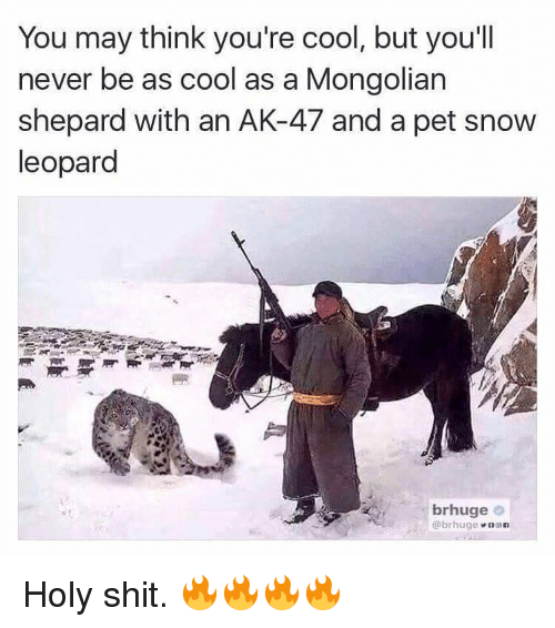 Holi Shit: You may think you're cool, but you'll  never be as cool as a Mongolian  Shepard with an AK-47 and a pet snow  leopard  brhuge  Obrhuge n son Holy shit. 🔥🔥🔥🔥