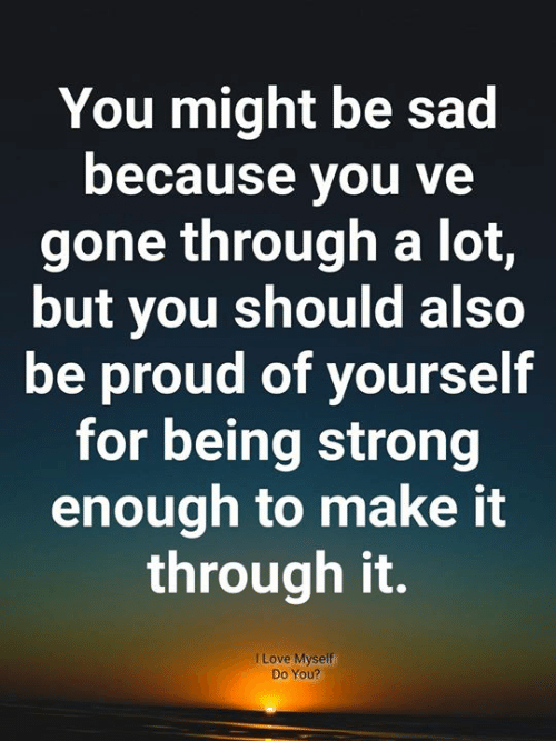 Love, Memes, and Proud: You might be sad  because you ve  gone through a lot,  but you should also  be proud of yourself  for being strong  enough to make it  through it.  I Love Myself  Do You?