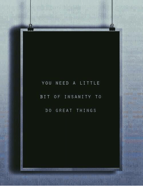 Insanity: YOU NEED A LITTLE  BIT OF INSANITY TO  DO GREAT THINGS