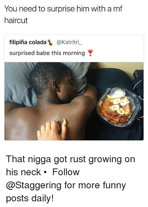 necking: You need to surprise him with a mf  haircut  filipina colada し@Katritri-  surprised babe this morning That nigga got rust growing on his neck • ➫➫➫ Follow @Staggering for more funny posts daily!