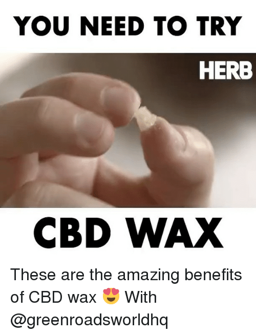 Memes, Amazing, and 🤖: YOU NEED TO TRY  HERB  CBD WAX These are the amazing benefits of CBD wax 😍 With @greenroadsworldhq