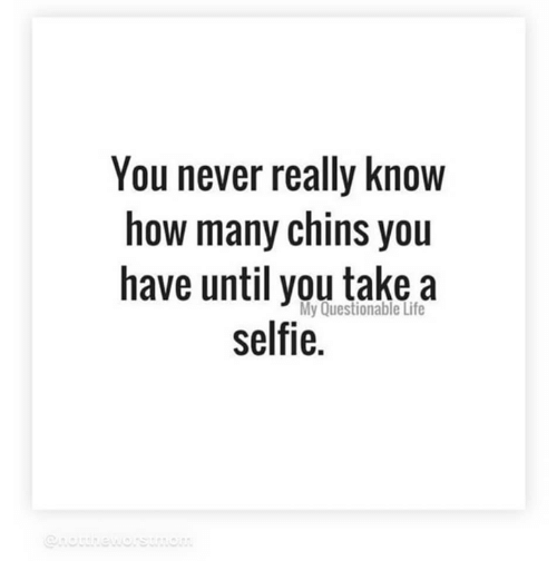 Life, Memes, and Selfie: You never really know  how many chins you  have until you take a  selfie.  My Questionable Life