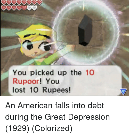 Lost, American, and Depression: You picked up the 10  Rupoor! You  lost 10 Rupees! An American falls into debt during the Great Depression (1929) (Colorized)