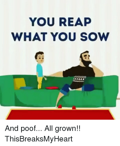 Poofes: YOU REAP  WHAT YOU SOW And poof... All grown!! ThisBreaksMyHeart