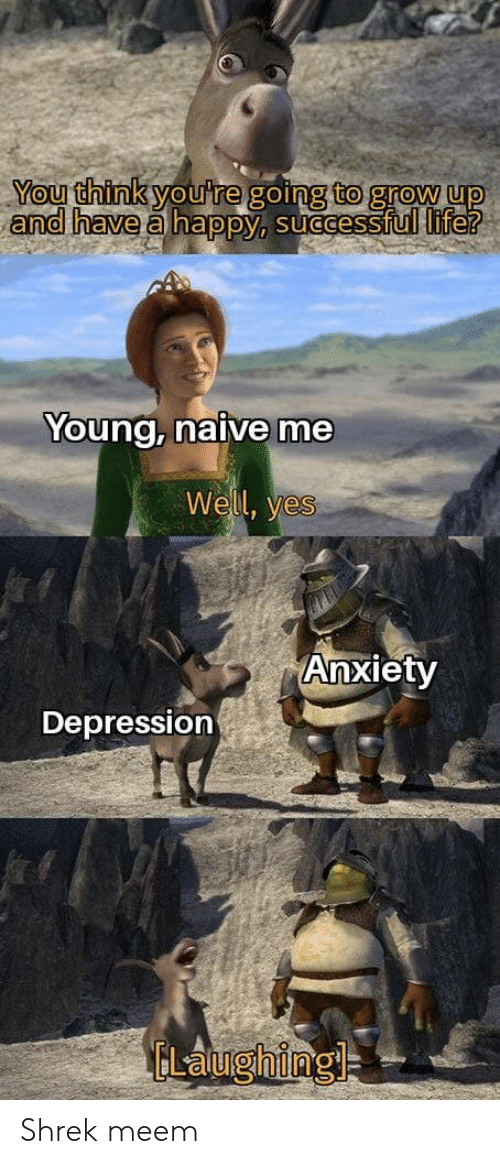 Naive: You think you're going to grow up  and have a happy, successful life?  Young, naive me  Well, yes  Anxiety  Depression  ELaughing Shrek meem