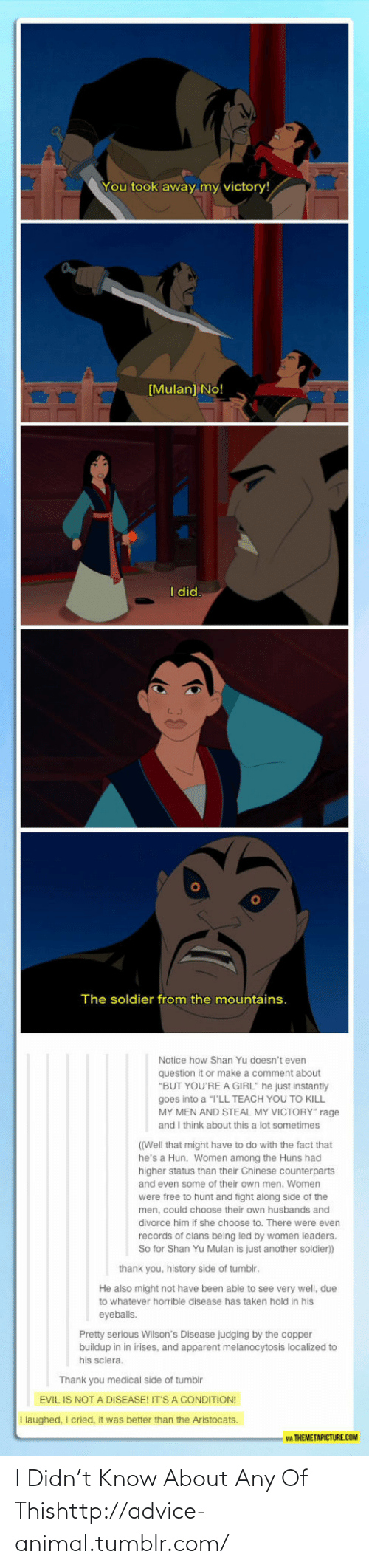"""Hold In: You took away my victory!  [Mulan] No!  I did.  The soldier from the mountains.  Notice how Shan Yu doesn't even  question it or make a comment about  """"BUT YOU'RE A GIRL"""" he just instantly  goes into a """"I'LL TEACH YOU TO KILL  MY MEN AND STEAL MY VICTORY"""" rage  and I think about this a lot sometimes  ((Well that might have to do with the fact that  he's a Hun. Women among the Huns had  higher status than their Chinese counterparts  and even some of their own men. Women  were free to hunt and fight along side of the  men, could choose their own husbands and  divorce him if she choose to. There were even  records of clans being led by women leaders.  So for Shan Yu Mulan is just another soldier)  thank you, history side of tumblr.  He also might not have been able to see very well, due  to whatever horrible disease has taken hold in his  eyeballs.  Pretty serious Wilson's Disease judging by the copper  buildup in in irises, and apparent melanocytosis localized to  his sclera.  Thank you medical side of tumblr  EVIL IS NOT A DISEASE! IT'S A CONDITION!  I laughed, I cried, it was better than the Aristocats.  WA THEMETAPICTURE.COM I Didn't Know About Any Of Thishttp://advice-animal.tumblr.com/"""