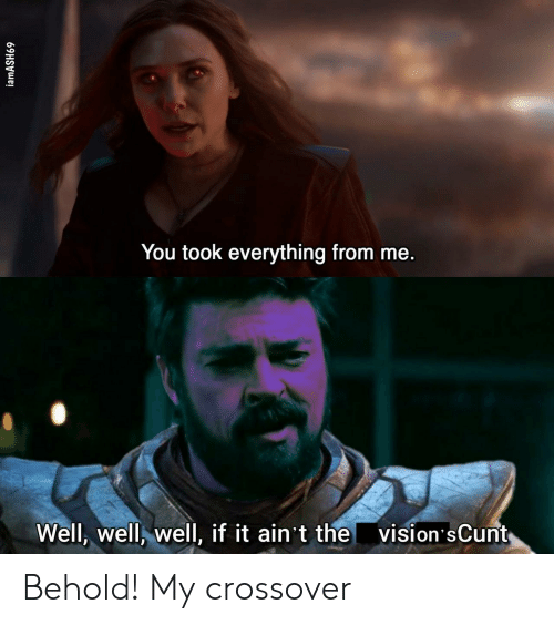 Crossover, You, and Well: You took everything from me.  vision'sCunt  Well, well, well, if it ain't the  iamASH69 Behold! My crossover