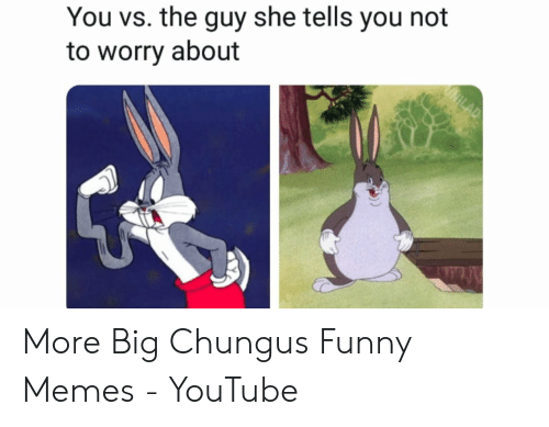 Funny Memes Youtube: You vs. the guy she tells you not  to worry about More Big Chungus Funny Memes - YouTube