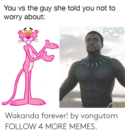 Wakanda Forever: You vs the guy she told you not to  worry about:  PGAG Wakanda forever! by vongutom FOLLOW 4 MORE MEMES.