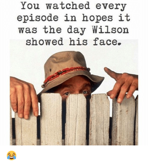 Memes, 🤖, and Day: You watched every  episode in hopes it  was the day Wilson  showed his face. 😂