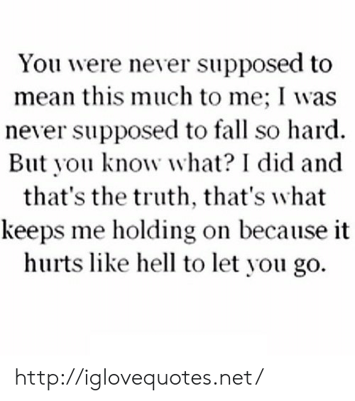 Fall, Http, and Mean: You were never supposed to  mean this much to me; I was  never supposed to fall so hard.  But you know what? I did and  that's the truth, that's what  keeps me holding on because it  hurts like hell to let you go. http://iglovequotes.net/