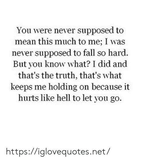 So Hard: You were never supposed to  mean this much to me; I was  never supposed to fall so hard.  But you know what? I did and  that's the truth, that's what  keeps me holding on because it  hurts like hell to let you go. https://iglovequotes.net/