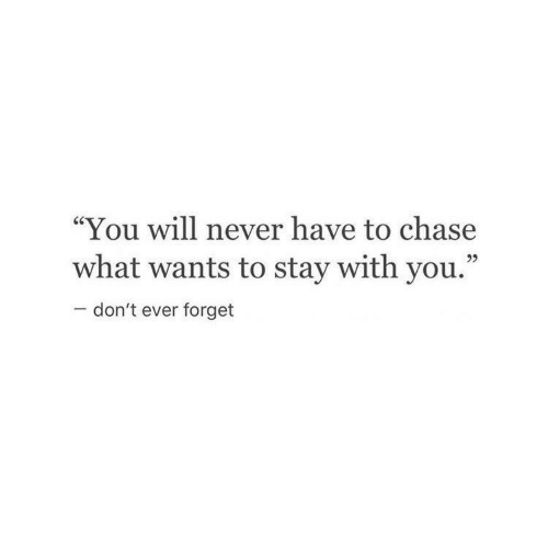 """You Will Never: """"You will never have to chase  what wants to stay with you.""""  95  don't ever forget"""