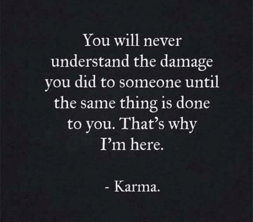 You Will Never: You will never  understand the damage  you did to someone until  the same thing is done  to you. That's why  I'm here.  Karma.