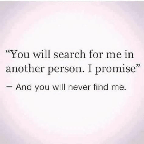 """You Will Never: """"You will search for me in  another person. I promise""""  And you will never find me.  05"""