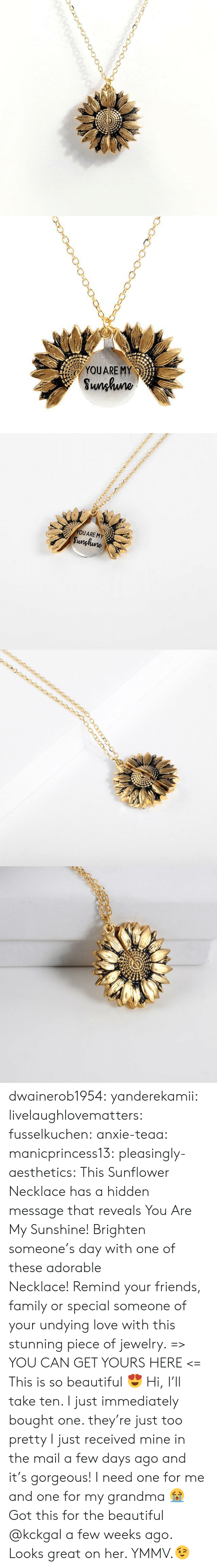 The Mail: YOUARE MY  Sunhuno   YOUARE MY  Sunghune dwainerob1954:  yanderekamii:  livelaughlovematters:  fusselkuchen: anxie-teaa:   manicprincess13:   pleasingly-aesthetics:  This Sunflower Necklace has a hidden message that reveals You Are My Sunshine! Brighten someone's day with one of these adorable Necklace! Remind your friends, family or special someone of your undying love with this stunning piece of jewelry. => YOU CAN GET YOURS HERE <=   This is so beautiful 😍    Hi, I'll take ten.    I just immediately bought one. they're just too pretty   I just received mine in the mail a few days ago and it's gorgeous!  I need one for me and one for my grandma 😭  Got this for the beautiful @kckgal a few weeks ago.  Looks great on her. YMMV.😉