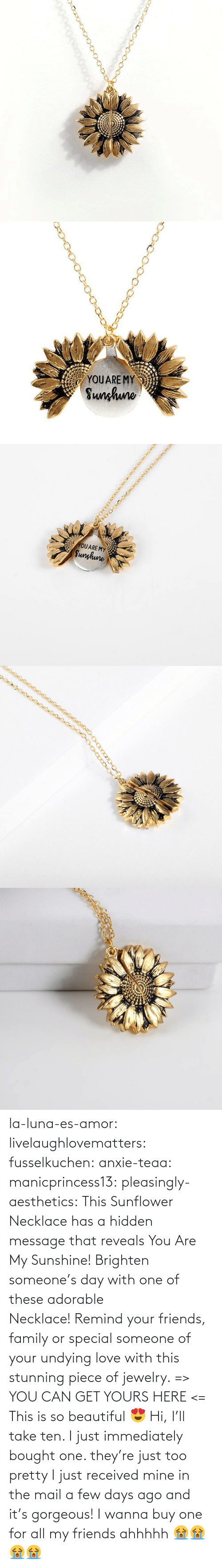 Gt: YOUARE MY  Sunhuno   YOUARE MY  Sunghune la-luna-es-amor:  livelaughlovematters: fusselkuchen:  anxie-teaa:   manicprincess13:   pleasingly-aesthetics:  This Sunflower Necklace has a hidden message that reveals You Are My Sunshine! Brighten someone's day with one of these adorable Necklace! Remind your friends, family or special someone of your undying love with this stunning piece of jewelry. => YOU CAN GET YOURS HERE <=   This is so beautiful 😍    Hi, I'll take ten.    I just immediately bought one. they're just too pretty   I just received mine in the mail a few days ago and it's gorgeous!   I wanna buy one for all my friends ahhhhh 😭😭😭😭