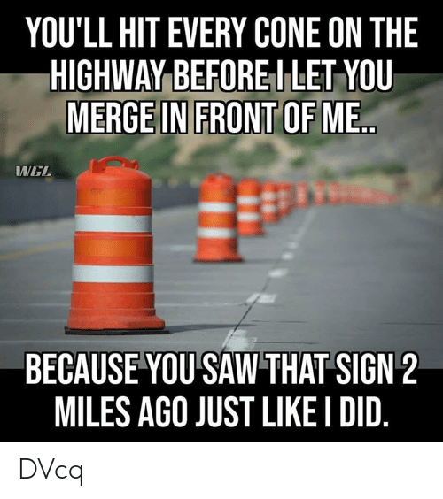 Memes, Saw, and 🤖: YOU'LL HIT EVERY CONE ON THE  HIGHWAY BEFOREI LET YOU  MERGE IN FRONT OF ME  WEL  BECAUSE YOU SAW THAT SIGN 2  MILES AGO JUST LIKE I DID DVcq