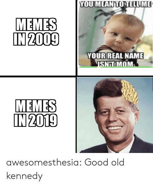 kennedy: YOUMEANTOTELL ME  MEMES  IN 2009  YOUR REAL NAME  SHIT MOM  MEMES  IN 2019 awesomesthesia:  Good old kennedy