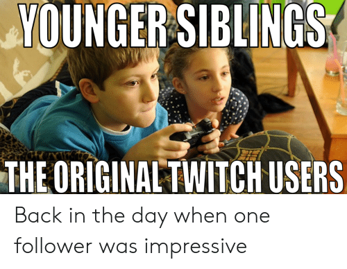 Back, One, and Day: YOUNGER SIBLINGS  THEORIGINALTWITCH USERS Back in the day when one follower was impressive