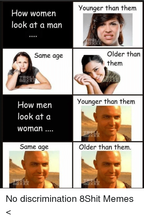 Memes, Women, and 🤖: Younger than them  How women  look at a man  Older than  them  Same age  Younger than them  How men  look at a  woman...  Same age  Older than them. No discrimination 8Shit Memes <
