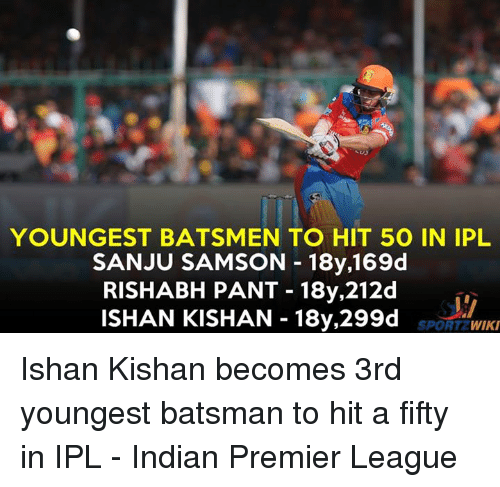 Rishabh Pant: YOUNGEST BATSMEN TO HIT 50 IN IPL  SAN JU SAMSON 18y,169d  RISHABH PANT 18y,212d  ISHAN KISHAN 18y,299d  T2 WIKI  SPOR Ishan Kishan becomes 3rd youngest batsman to hit a fifty in IPL - Indian Premier League