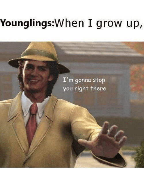 younglings: Younglings:When I grow up,  I'm gonna stop  you right there