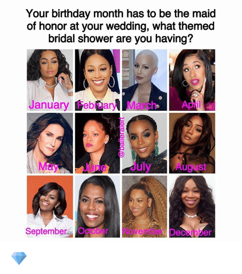 Birthday Month: Your birthday month has to be the maid  of honor at your wedding, what themed  bridal shower are you having?  January February March April a  May e July August  September October Nove  Deceinber 💎