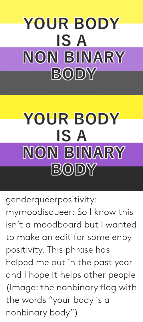 "non binary: YOUR BODY  IS A  NON BINARY  BODY   YOUR BODY  IS A  NON BINARY  BODY genderqueerpositivity:  mymoodisqueer:  So I know this isn't a moodboard but I wanted to make an edit for some enby positivity. This phrase has helped me out in the past year and I hope it helps other people  (Image: the nonbinary flag with the words ""your body is a nonbinary body"")"
