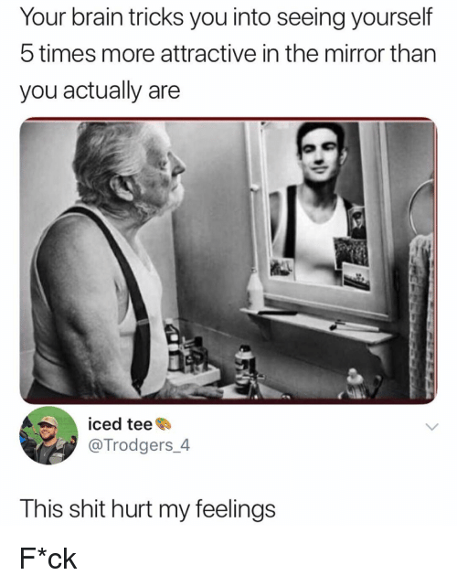 Memes, Shit, and Brain: Your brain tricks you into seeing yourself  5 times more attractive in the mirror than  you actually are  iced tee  @Trodgers_4  This shit hurt my feelings F*ck