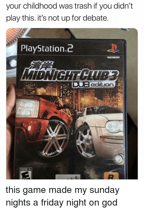 playstation 2: your childhood was trash if you didn't  play this. it's not up for debate  PlayStation.2 this game made my sunday nights a friday night on god