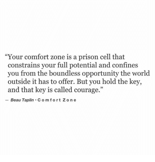 "Prison, Opportunity, and World: Your comfort zone is a prison cell that  constrains your full potential and confines  you from the boundless opportunity the world  outside it has to offer. But you hold the key,  and that key is called courage.""  Beau Taplin C om fort Zo n e"