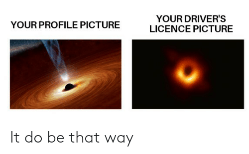 Profile Picture: YOUR DRIVER'S  LICENCE PICTURE  YOUR PROFILE PICTURE It do be that way